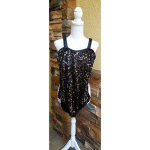 Balera black sequin bodysuit